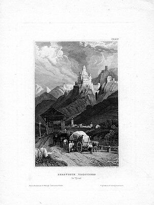 Bergfeste Trostberg in Tirol, Stahlstich ca. 1850, old engraving