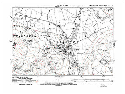 Old map of Wooler, Humbleton, Northumberland in 1925: 16SW repro