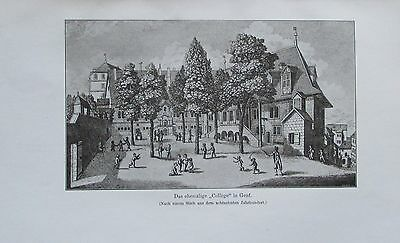 DAS EHEMALIGE COLLEGE IN GENF 1914 alter Druck antique Print Lithographie