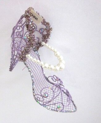 Purple Wire Shoe Ornament Christmas Shoe Tree High Heel  Sandal