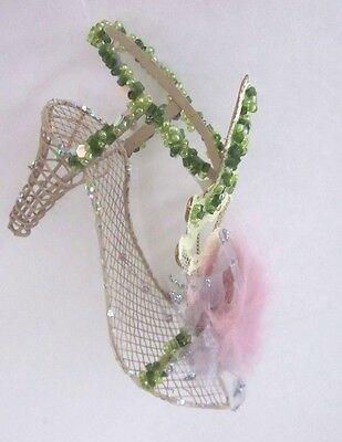 Wire Ornament Christmas Shoe Tree Unique Beaded High Heel
