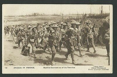 Vintage Postcard - WWI ANZAC's in France Machine Gunners - Free Postage