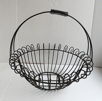 Large Wrought Iron Wire Planter Basket with Handle