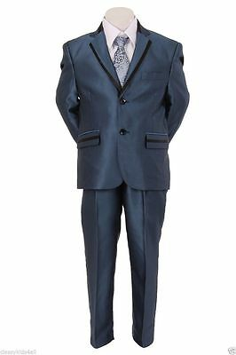Blue Boy's Toddler Kid Teen 5-PC Wedding Formal Party Suit Tuxedo Size 2-20