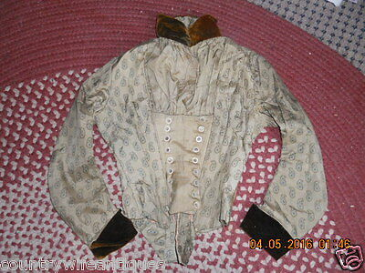 Late 19Th Century 1890S Ladies  Green Print Silk Bloused Front Bodice W Buttons