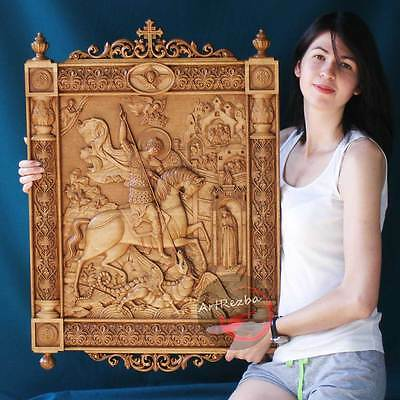"D39"" Kiot Saint George and the Dragon 3D Art Orthodox Wood Carved icon (32""x20"")"