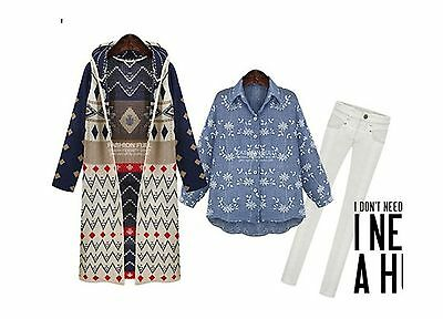 BOHO TRIBAL INDIE Bohemian Long Coat Jacket Hooded Cardigan
