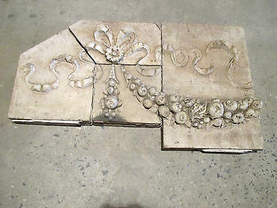 Antique Terra Cotta Plaque 4 Pieces Flower Fruit Ribbons Architectural Salvage ~