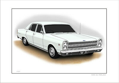 Ford  69'   Zc  Fairlane  500  302 V8    Limited Edition Car Print  Drawing