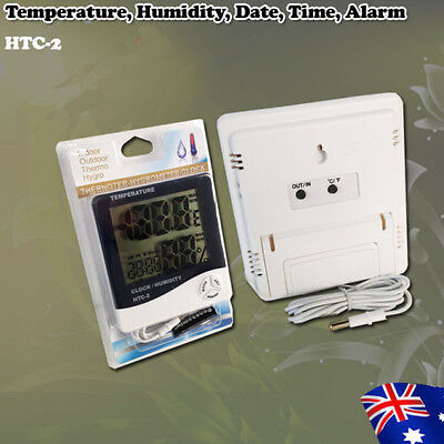 Hygrow Meter Electronic digital LCD HTC-2 Clock Temperature Humidity With Sensor
