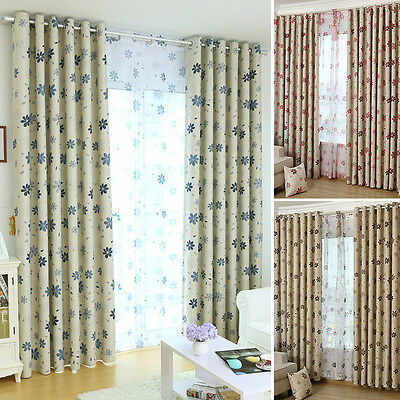 Floral Tulle Sheer / Blackout Curtain Floral Room Door Window Drape Panel