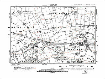 Old map of Throckley, Heddon on the Wall, Northumberland in 1921: 93NE repro