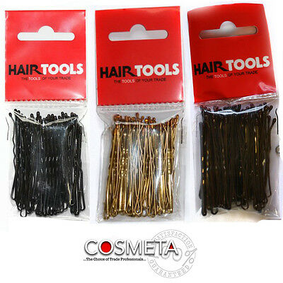 "HAIR TOOLS Professional 2"" Hair Grips Strong, Choice of Blonde Brown Black PK 50"