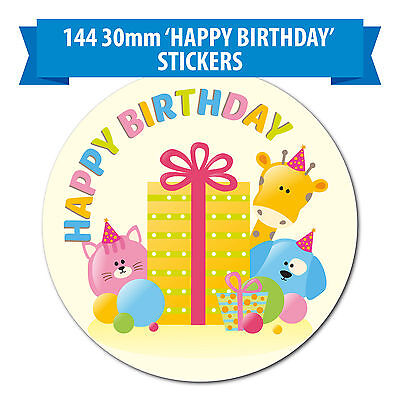 'Happy Birthday' Stickers - 144 30mm Stickers - A Cute Animal Design for Kids