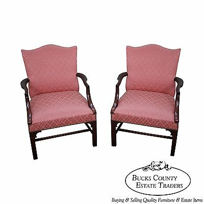 Antique 1930s Solid Mahogany Pair of Chippendale Style Library Arm Chairs