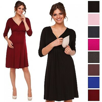 Happy Mama. Women's Maternity Nursing Skater Dress 3/4 Sleeve Layered Neck. 787p