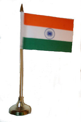 """India Country 4"""" X 6"""" Inch Stick Flag With Gold Stand On 10"""" Plastic Pole"""