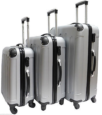 Silver Hard Shell 4 Wheel Spinner Suitcase Set Luggage Trolley Case Cabin Hand