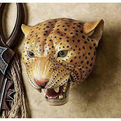LEOPARD WALL TROPHY STATUE SCULTURE Cabin Lodge Jungle African Savannah Predator