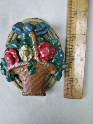 "Vintage HUBLEY DOOR KNOCKER,Basket of Flowers,3 3/4""H.,Cast Iron,Original Paint"