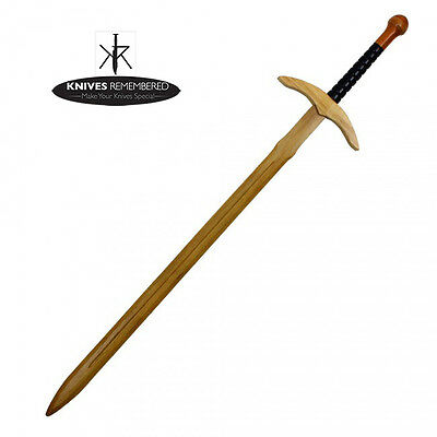 "44"" Wooden Practice Sword Long With Black and Red Handle"