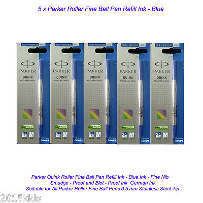 5 Parker Quink Roller Ball Rollerball Pen Refill Fine Nib Blue Ink Gel US Seller