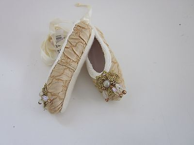Ballet Slipper Christmas Tree Ornament Shoe Tree Decor Beige with Dangling Stone