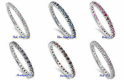 Sterling Silver 925 STACKABLE ETERNITY DESIGN CZ RINGS WITH STONE 2MM SIZES 4-12