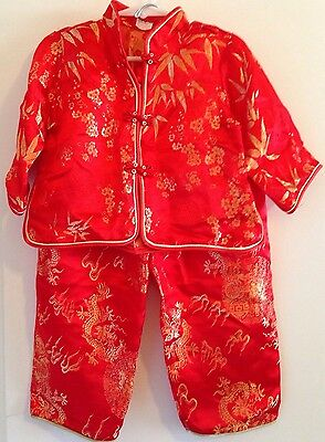 Red Chinese Asian Reverse Brocade Pattern 2 Piece Pajama Costume Size 4, (12/13)