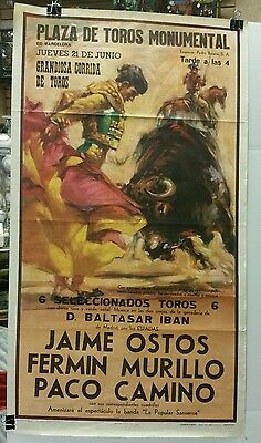 Vintage 1960 Bull Fighting promo poster! Extremely Rare!! Excellent condition!