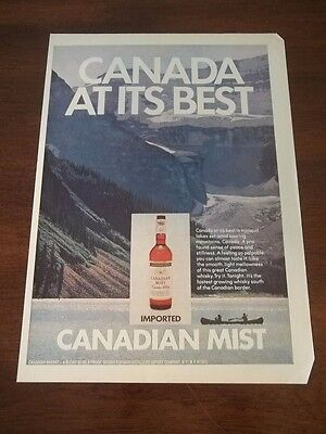 1972 Vintage Print Ad Canadian Mist Whisky Canada At Its Best Mountains Kayaking