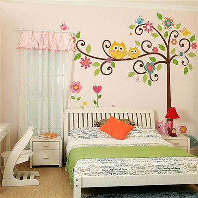 Owl Scroll Tree Wall Art Decal Removable Vinyl Nursery Stickers Kids Baby Decor