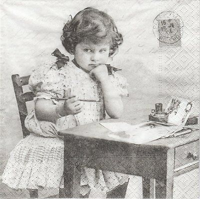 2 Serviettes en papier Fillette bureau Sagen Vintage Paper Napkins Girl Writing