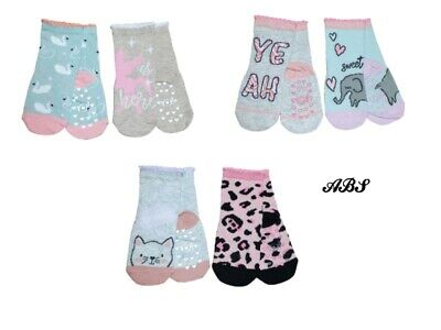 Baby Girl ABS Anti Non Slip Cotton Socks 2 Pairs Size 3 months to 3 years