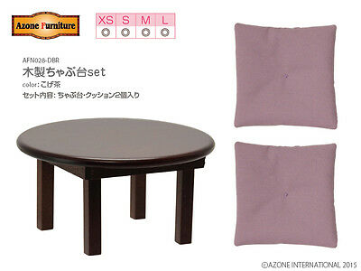 AZONE 1/6 Wooden Low Dining Table & Cushions set Dark Brown color