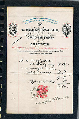 1908 GOLDSMITHS,Wheatley & Son Invoice,Masonic,KEVII Stamp Used as Revenue