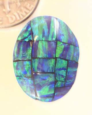 11.84ct Polished Gilson Opal Mosaic Oval Doublet Cabochon