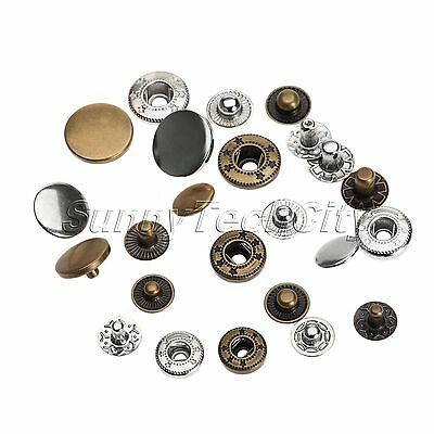 50PCS METAL SNAP Fasteners Poppers Press Stud Sewing Button Rivet Button  Craft