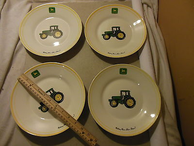 "John Deere Soup Salad Plate Dish Gibson 8 3/4"" Set 4 Bowls Large Tractor China"