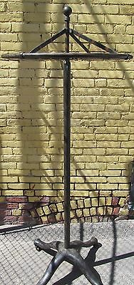 Industrial Machine Age Cast Iron Revolving Coat Rack W/pickled Metal Designs 75""