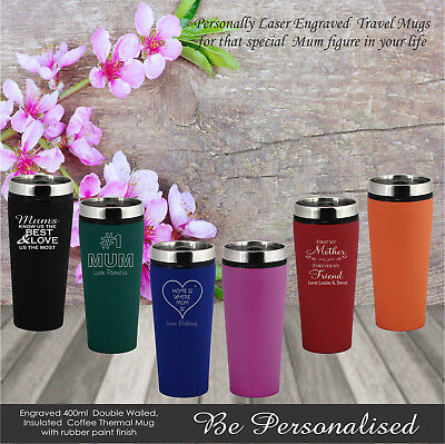 Personalised Mothers Day Travel Mug Gift Present Mum Engraved Birthday Coffee