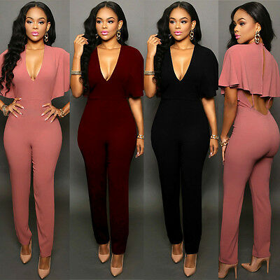 New Women Ladies V Neck Playsuit Bodycon Party Clubwear Jumpsuit Romper Trousers