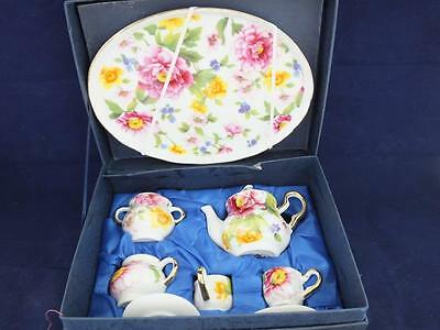 Ceramic Miniature Tea Set on a Tray Spring Flowers Pattern Design.