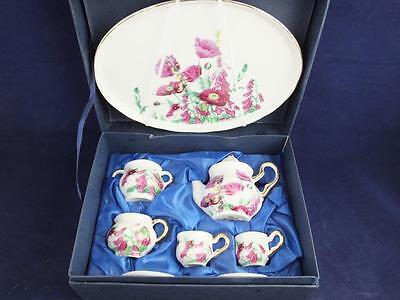 Ceramic Miniature Tea Set on a Tray Pink Poppy Design.