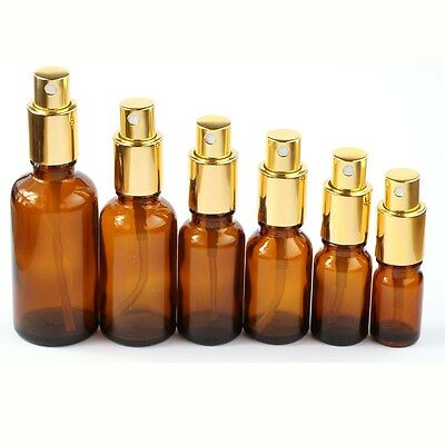 5ml~~50ml Amber Spray Bottle Glass With Golden Aluminum Cap