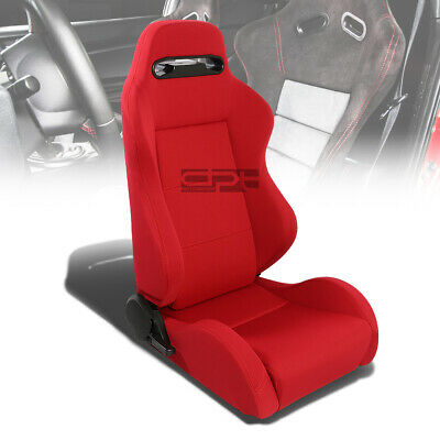 Type-R Style Red Reclinable Sports Racing Seats+Universal Sliders Passenger Side