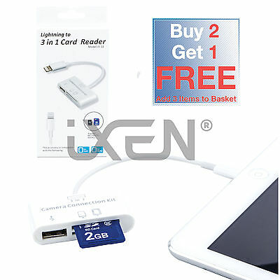 3 In 1 Lightning Camera Connection Kit SD Card USB Reader iPad 4 Air/2 Mini