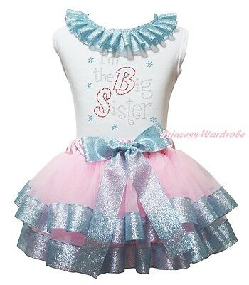 White Top I M The Big Sister Pink Bling Blue Satin Trim Skirt Girls Outfit NB-8Y