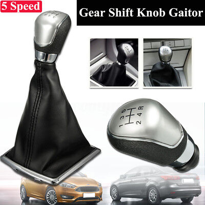 Black 5 Speed Gear Shift Knob Stick Lever Gaiter Boot Cover For Ford Focus