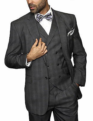 Mens Charcoal Gray Plaid Three Piece Two Button Wool Suit